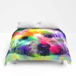 Colorful Yorkie By Annie Zeno  Comforters