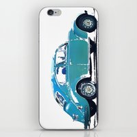 volkswagon iPhone & iPod Skins featuring Blue VW Bug by Regan's World