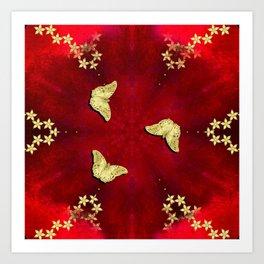 gold butterflies and flowers on red kaleidoscope Art Print