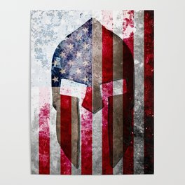 Molon Labe - Spartan Helmet Across An American Flag On Distressed Metal Sheet Poster