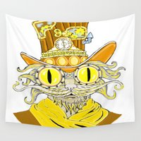 steam punk Wall Tapestries featuring Steam Punk Cat by J&C Creations