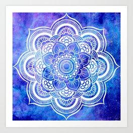 Mandala Blue Lavender Galaxy Art Print