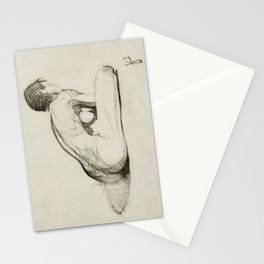 Female Nude Figure Charcoal Drawing Leaning Over Thinking Black and Beige Stationery Cards