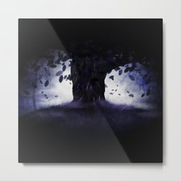 Misty oak tree Metal Print