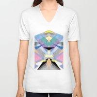 origami V-neck T-shirts featuring Origami by Marta Olga Klara