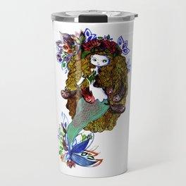 Mermaid blue, red and gold Travel Mug