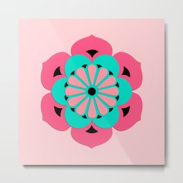 Lotus Flower Mandala, Coral Pink and Turquoise Metal Print
