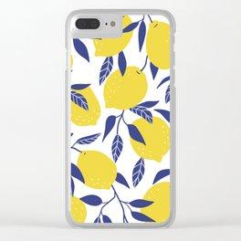 Bright Lemon Yellow Lemons Blue Leaves Floral Flower Pattern Clear iPhone Case