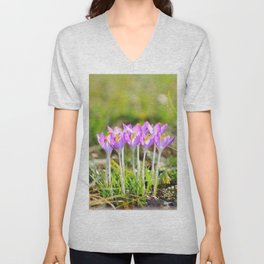 Crocus bunch vertical close up in spring season Unisex V-Neck