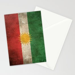 Old and Worn Distressed Vintage Flag of Kurdistan Stationery Cards