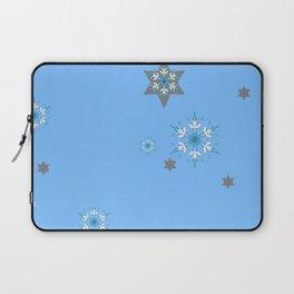 BABY BLUE COLOR & SNOWFLAKES DESIGN ART Laptop Sleeve