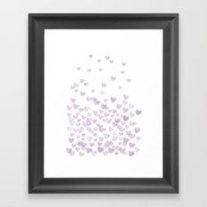 Hearts falling painted pastels purple heart pattern minimal art print nursery baby art Framed Art Print