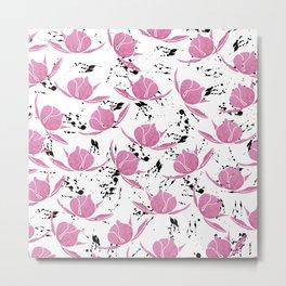 Pink black watercolor paint splatters floral Metal Print