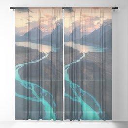 Mount cook national park Sheer Curtain