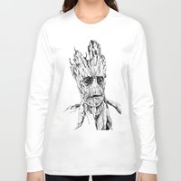 groot Long Sleeve T-shirts featuring Groot by Giorgia Ruggeri