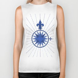 Nautical French Blue Compass Rose Biker Tank