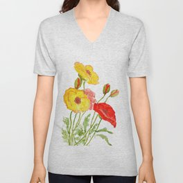 red and yellow  poppies Unisex V-Neck