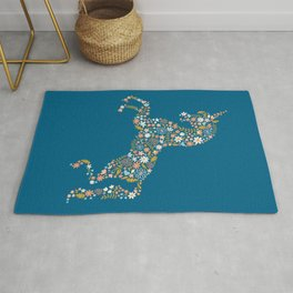 Floral Unicorn in Blue + Coral Rug