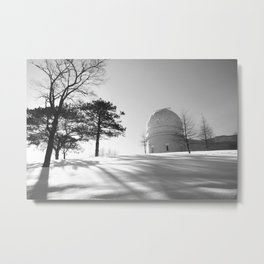 Winter at The Observatory - B/W Metal Print