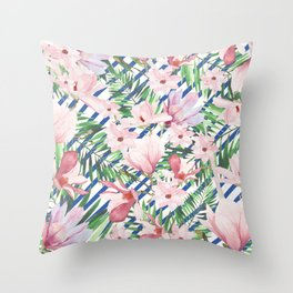 Modern blue white stripes blush pink green watercolor floral Throw Pillow