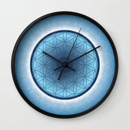 Flower of Life blue 2 Wall Clock