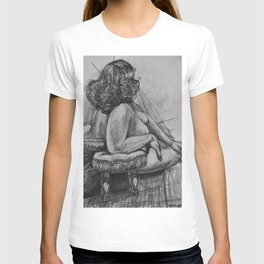 Curly Haired Woman Study in Charcoal T-shirt