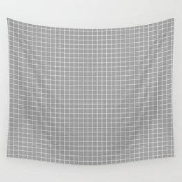 Grey Grid White Line Wall Tapestry