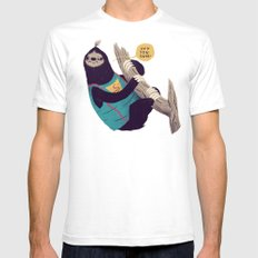sloth SMALL White Mens Fitted Tee