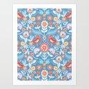 Happy Folk Summer Floral on Light Blue by micklyn