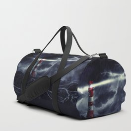 Stormy Sea and Lighthouse Duffle Bag