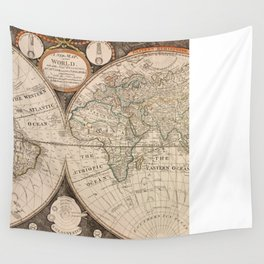 Vintage Map of The World (1799) 5 Wall Tapestry