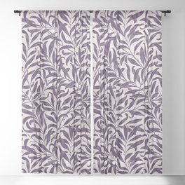 Leaves pattern purple Sheer Curtain