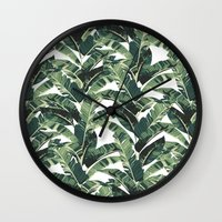 banana leaf Wall Clocks featuring BANANA LEAF by bows & arrows