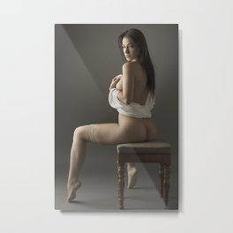 beige stockings 12 Metal Print