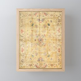 Craft Carpet Century Authentic Colorful Dull Yellow Golden Distressed Vintage Rug Pattern Framed Mini Art Print