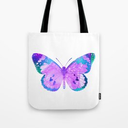 Pink-Lilac Butterfly With Glitter Blue Trim Tote Bag