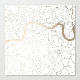 White on Gold London Street Map Canvas Print