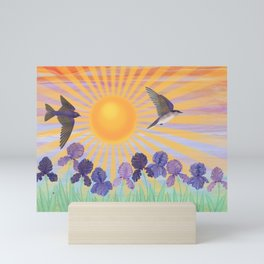 purple martins, irises, & sunshine Mini Art Print
