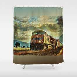 Observance Valley Freight Line Shower Curtain