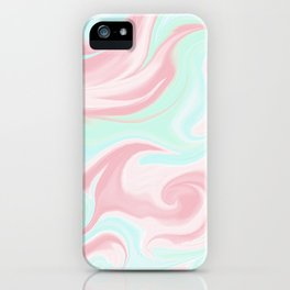 Abstract pink coral teal turquoise watercolor pattern iPhone Case