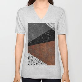 Marble, Granite, Rusted Iron Abstract Unisex V-Neck