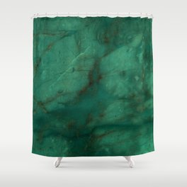Hunter Green Marble Shower Curtain