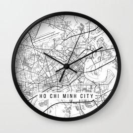 Ho Chi  Minh City Map, Vietnam - Black and White Wall Clock