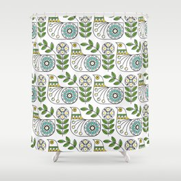 Mid Century Danish Bird Shower Curtain