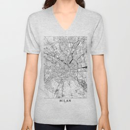 Milan White Map Unisex V-Neck