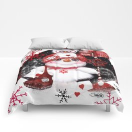 Santa Letter Delivery Snowman by Sheena Pike Comforters