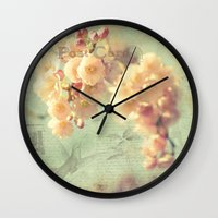 postcard Wall Clocks featuring Postcard by AlejandraClick