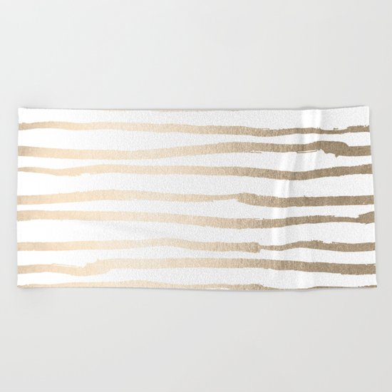 White Gold Sands Painted Lines Beach Towel