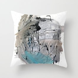 Riptide: an abstract mixed media piece in black, white, brown and blue Throw Pillow