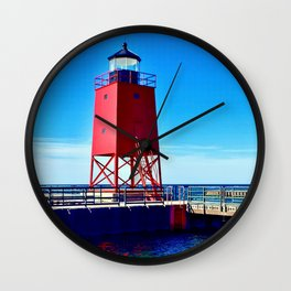 """""""Charlevoix Lighthouse Reflections"""" Wall Clock"""